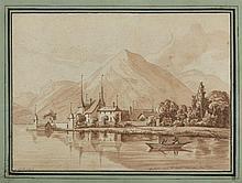 Alfred de VIGNY 1797 - 1863 Château vu du bord du lac de Thoune Plume et encre brune, lavis brun sur trait de crayon