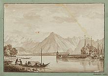 Marie-Jeanne-Amélie de VIGNY 1757-1837 Vue du lac de Thoune Lavis brun sur trait de crayon