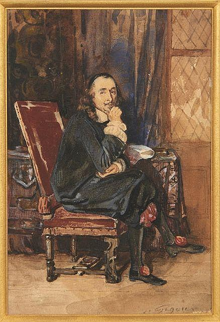 Jean GIGOUX 1806 - 1894 Portrait de Pierre Corneille Aquarelle gouachée