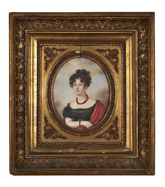 École française vers 1825  Portrait de Lydia de Vigny en buste Crayon et aquarelle sur papier, de forme ovale