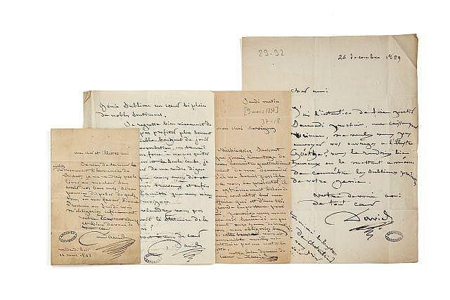 Pierre-Jean David, dit DAVID D'ANGERS 1788-1856 Réunion de quatre lettres autographes signées à Alfred de Vigny