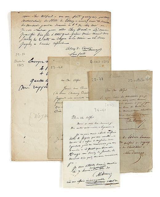 Alexandre DUMAS 1802-1870 Réunion de trois lettres autographes signées à Alfred de Vigny