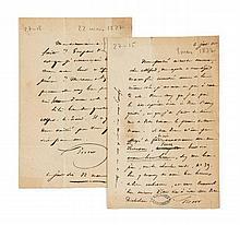 Victor HUGO 1802-1885 Réunion de deux lettres autographes signées à Alfred de Vigny