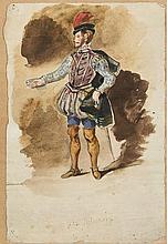 Eugène DELACROIX 1798 - 1863 Projet de costume pour la pièce de Victor Hugo