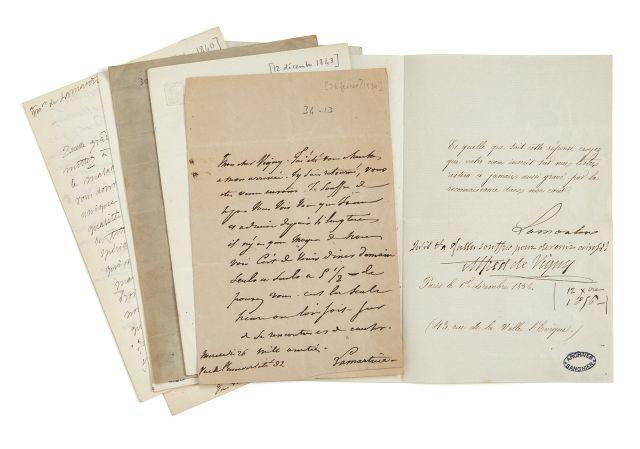 Alphonse de LAMARTINE 1790-1869 Réunion de cinq lettres autographes signées et une lettre signée à Alfred de Vigny