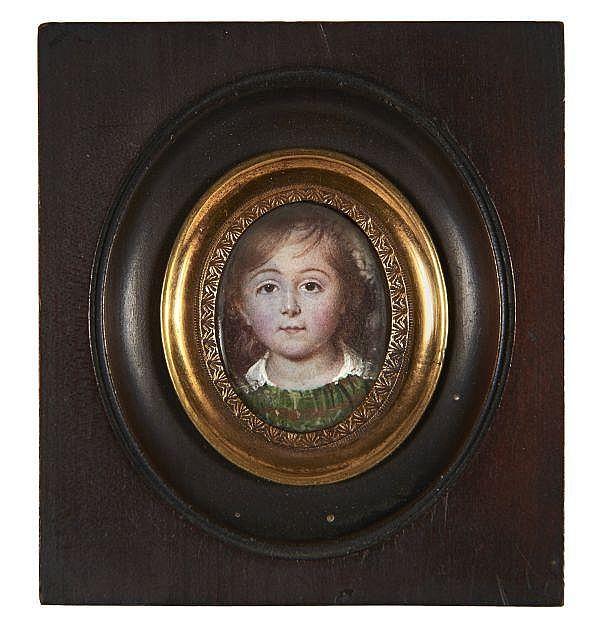 École française du XIXe siècle Portrait d'un jeune garçon de la famille Ancelot à l'âge de trois ans Miniature de forme ovale