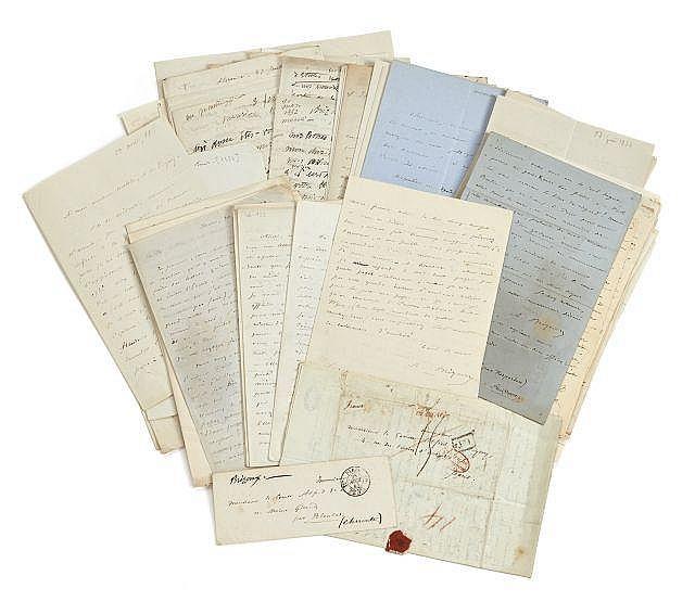 Auguste BRIZEUX 1803-1858 Réunion de soixante-dix lettres autographes à Alfred de Vigny, la plupart signées