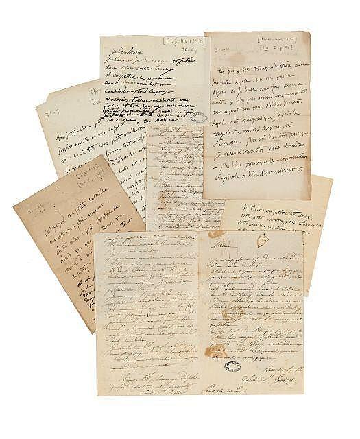 Alfred de VIGNY 1797-1863 Réunion de quatre billets autographes à sa mère