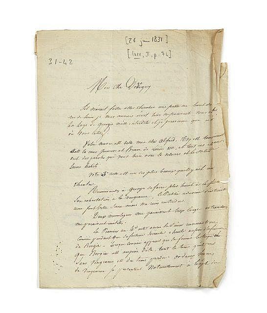 Alexandre DUMAS 1802-1870 Lettre autographe signée à Alfred de Vigny
