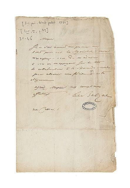 Honoré de BALZAC 1799-1850 Lettre autographe signée à Alfred de Vigny
