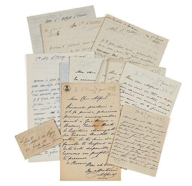 Alfred d'ORSAY 1801-1852 Réunion de huit lettres autographes signées à Alfred de Vigny