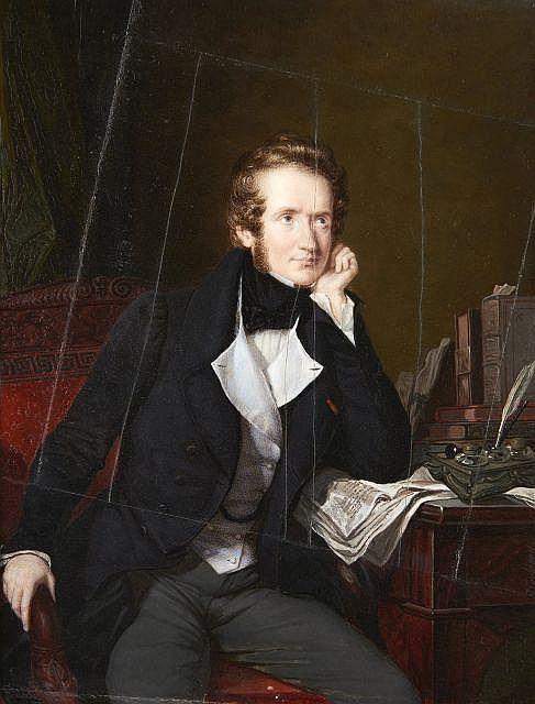 Pierre DAUBIGNY 1793-1858 Portrait d'Alfred de Vigny Miniature rectangulaire