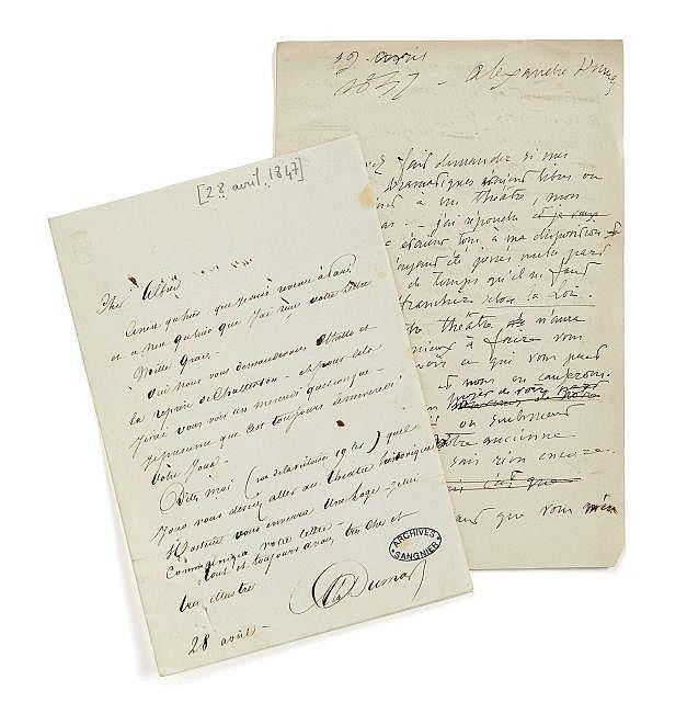 Alfred de VIGNY 1797-1863 Brouillon autographe signé d'une lettre à Alexandre Dumas