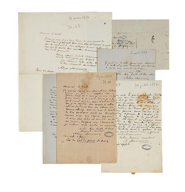 Adam MICKIEWICZ 1798-1855 Réunion de six lettres autographes signées à Alfred de Vigny