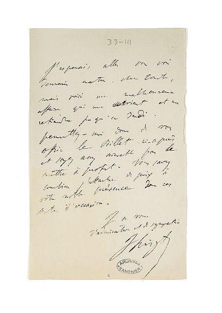 Franz LISZT 1811-1886 Lettre autographe signée à Alfred de Vigny