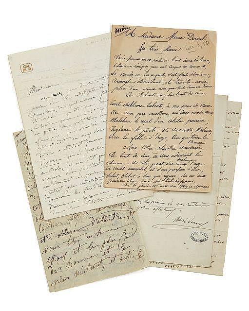 Marie DORVAL 1798-1849 Réunion de trois lettres autographes à Alfred de Vigny, dont deux signées