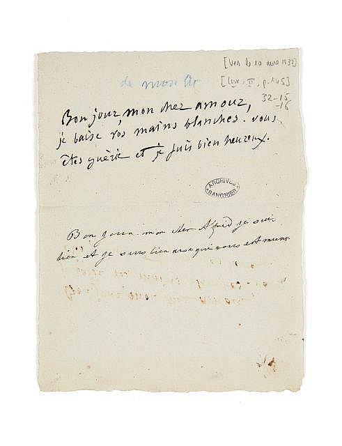 Alfred et Lydia de VIGNY 1797-18631794 (?)-1862 Billet autographe échangé entre l'un et l'autre