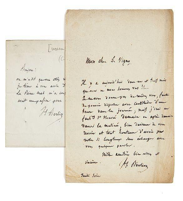 Hector BERLIOZ 1803-1869 Réunion d'un billet et d'une lettre autographes signés à Alfred de Vigny