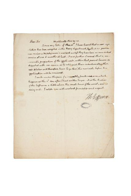Thomas JEFFERSON 1743-1826 Lettre autographe signée à John Vaughan