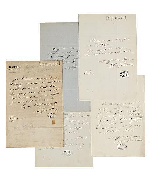 Delphine de GIRARDIN 1804-1855 Réunion de quatre billets autographes signées à Alfred de Vigny
