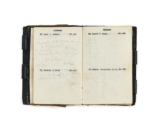 Alfred de VIGNY 1797-1863 Agenda de 1848. Manuscrit autographe