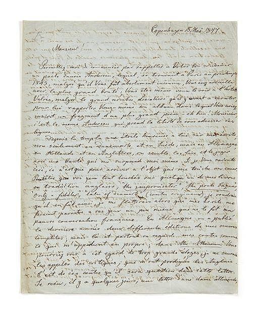 Hans Christian ANDERSEN 1805-1875 Lettre autographe signée à Alfred de Vigny