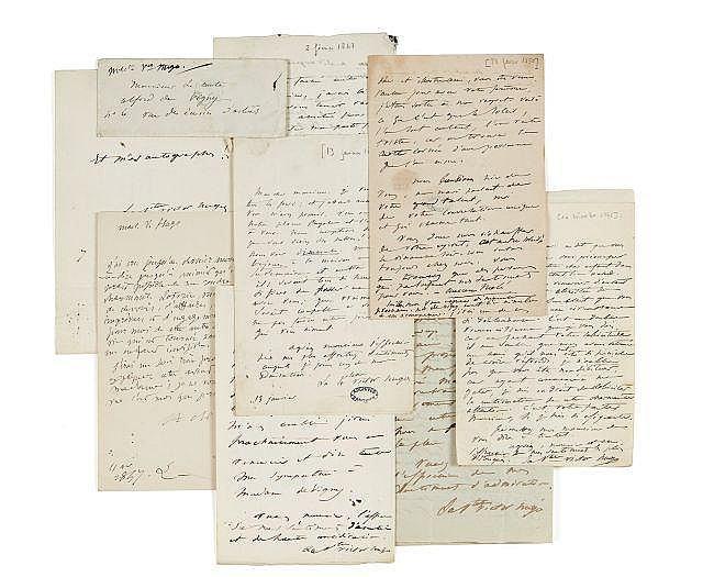 Adèle HUGO 1803-1868 Réunion de six lettres et un billet autographes signés à Alfred de Vigny