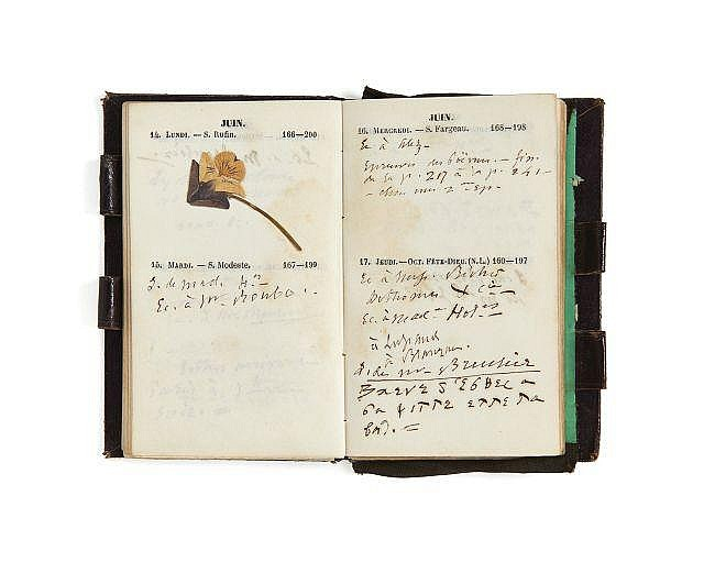 Alfred de VIGNY 1797-1863 Agenda de 1852. Manuscrit autographe