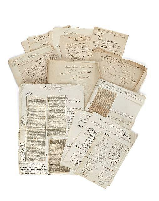 Alfred de VIGNY 1797-1863 Notes de séance à l'Académie française : manuscrits autographes