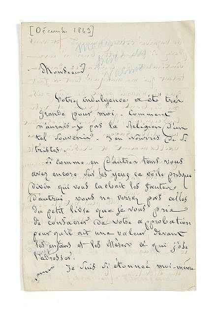 Marceline DESBORDES-VALMORE 1786-1859 Lettre autographe signée à Alfred de Vigny
