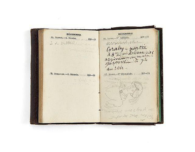 Alfred de VIGNY 1797-1863 Agenda de 1850. Manuscrit autographe