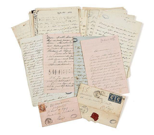 Tryphina-Augusta HOLMES 1811-1858 Réunion de quarante-six lettres autographes signées à Alfred et Lydia de Vigny