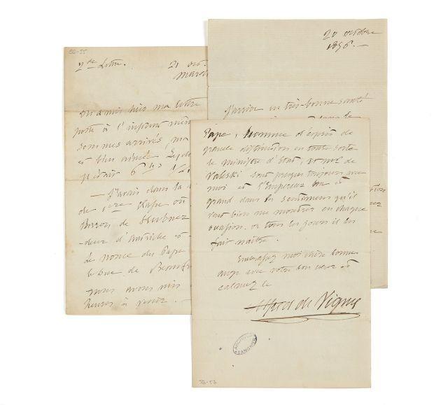Alfred de VIGNY 1797-1863 Réunion de trois lettres autographes à Lydia de Vigny dont deux signées
