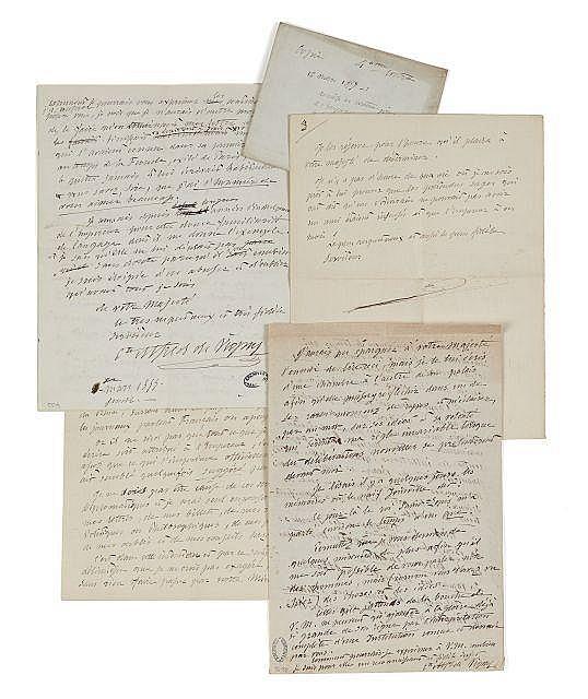 Alfred de VIGNY 1797-1863 Réunion de trois minutes autographes de lettres à l'empereur Napoléon III