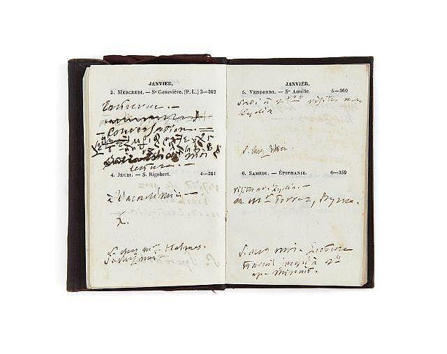 Alfred de VIGNY 1797-1863 Agenda de 1855. Manuscrit autographe