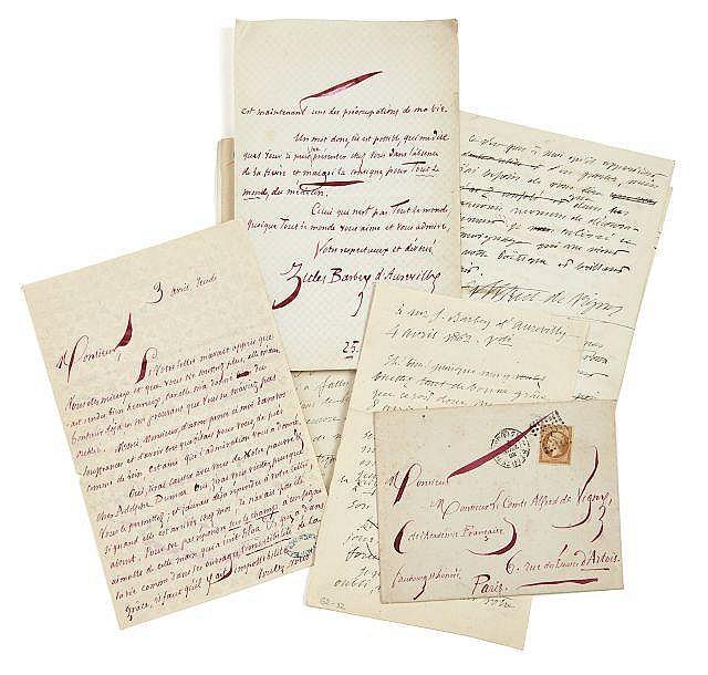 Jules BARBEY D'AUREVILLY 1808-1889 Réunion de deux lettres autographes signées à Alfred de Vigny