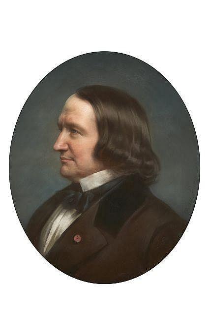 Hugues FOURAU 1803 - 1873 Portrait d'Alfred de Vigny Pastel de forme ovale