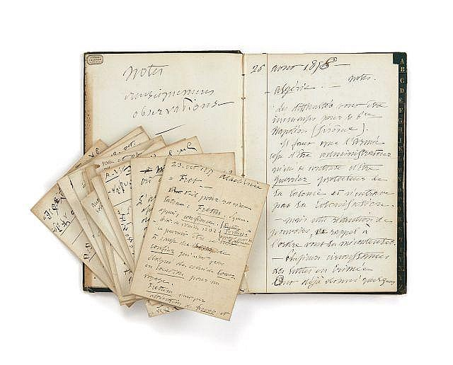 Alfred de VIGNY 1797-1863 Carnet de notes. Manuscrit autographe