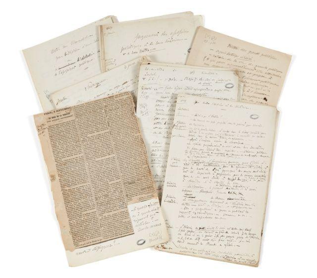 Alfred de VIGNY 1797-1863 Projets d'œuvres en prose et notes de lecture. Manuscrits autographes