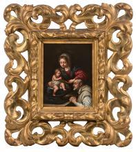 Alessandro TIARINI Bologne, 1577 - 1668 La Vierge à l'Enfant et un moine chartreux Huile sur cuivre