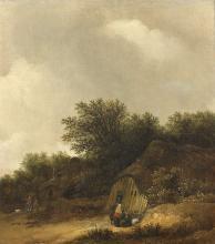 Guillam DUBOIS Haarlem, vers 1620 - 1680 Chaumière à l'orée d'un bois Huile sur panneau, une planche