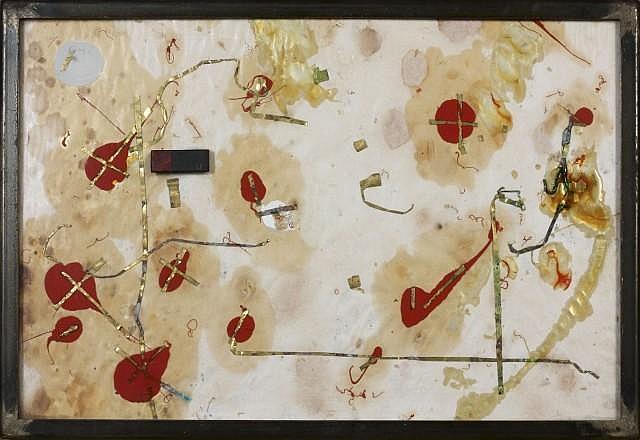 Jean-Pierre BERTRAND (né en 1937) SANS TITRE, (DIPTYQUE), 1985 Techniques mixte et collage sur papier marouflés sur panneau dans cad...