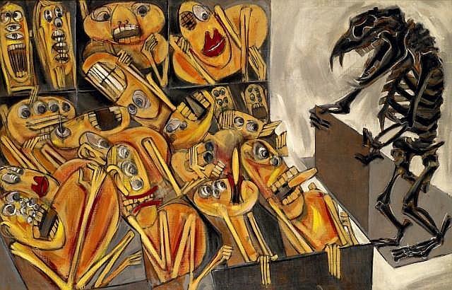 Gudmundur ERRO (né en 1932) THE AUCTION, 1959 Huile sur toile
