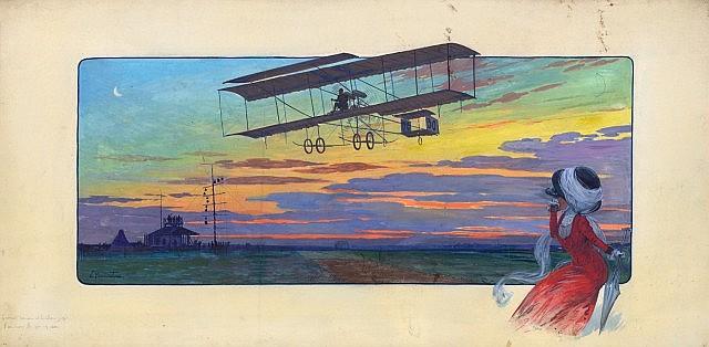 Ernest MONTAUT (1879-1936) Grande Semaine d'Aviation de la Champagne, 1909 Gouache sur papier, 1909