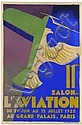 Roger de VALERIO  11ème Salon de l'Aviation du 29 juin au 15 juillet 1928, Grand Palais, Paris Affiche lithographique