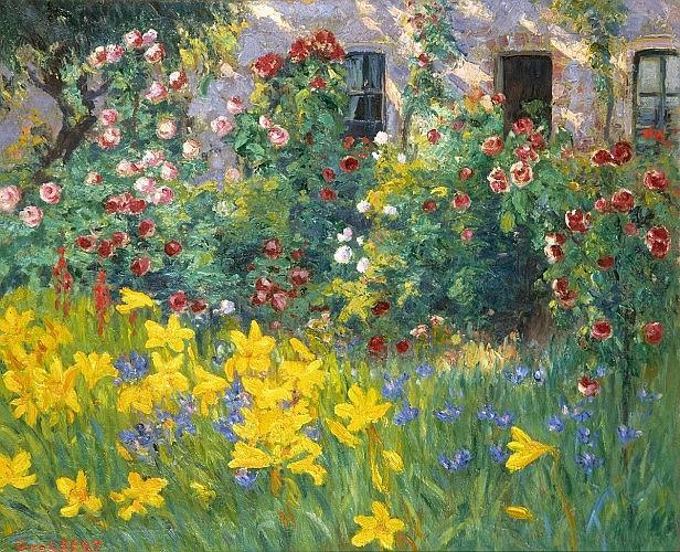 Narcisse GUILBERT (1878 - 1942) JARDIN AU PRINTEMPS Huile sur toile