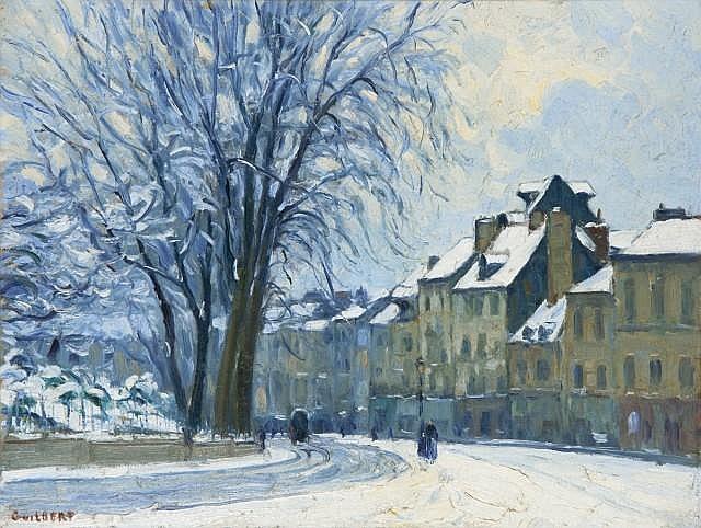 Narcisse GUILBERT (1878 - 1942) COIN DE ROUEN SOUS LA NEIGE Huile sur toile