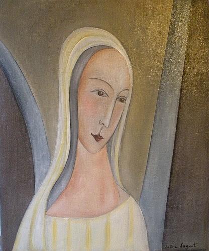 Irène LAGUT (1893 - 1994) VIERGE, 1919 Huile sur toile