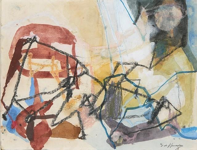 Eugène de KERMADEC (1899 -1976) L'ODALISQUE, 1971 Aquarelle, gouache, pastel et fusain sur papier