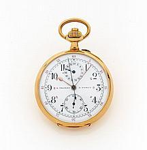 E. THOMAS, A PARIS Vers 1890. Beau chronographe de poche en or. Boîtier rond, cadran émail blanc avec totalisateur 30 min à midi,...